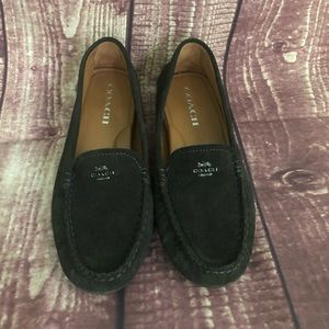 Coach AMBER dark brown flats suede leather Sz 7B